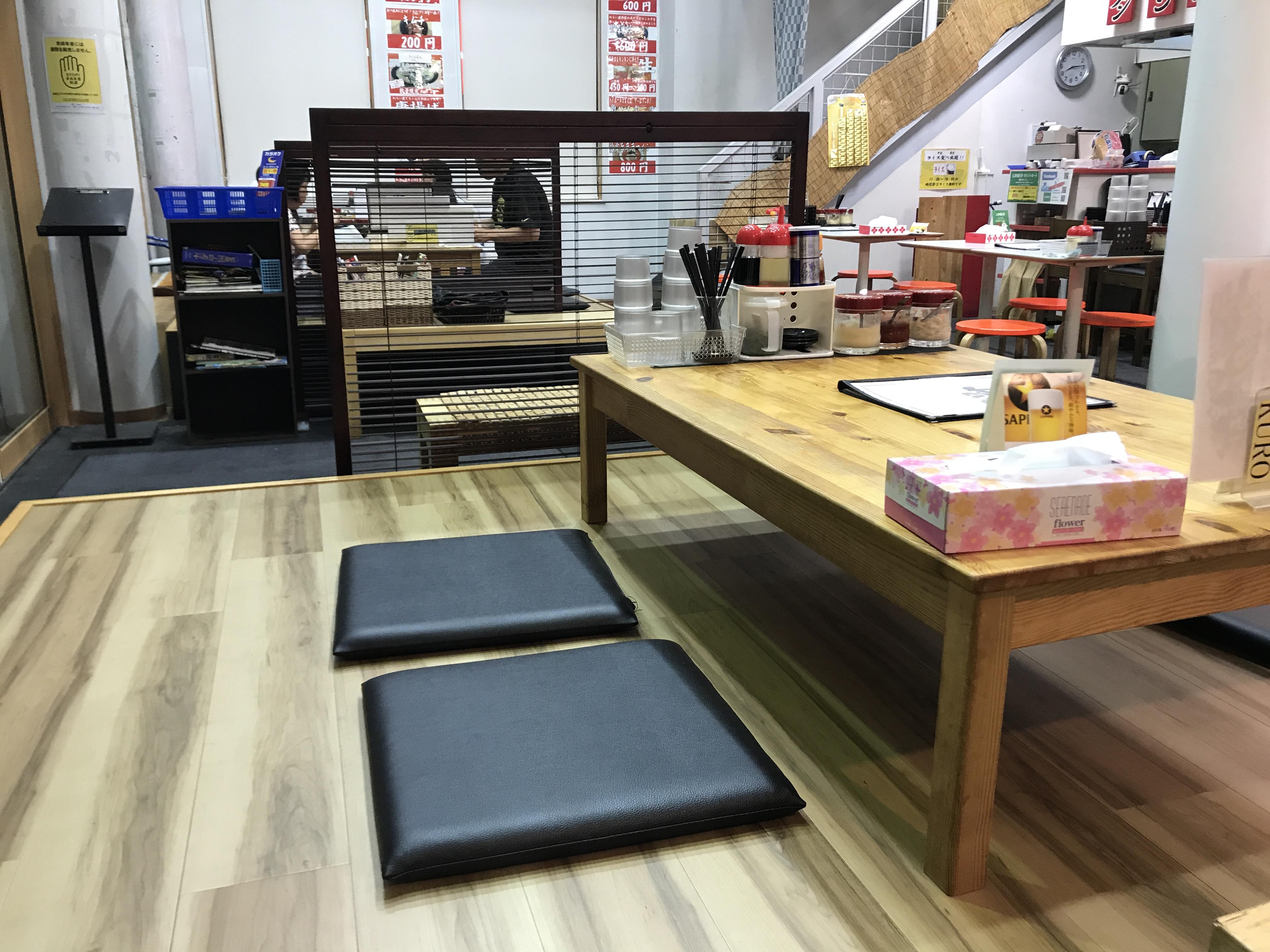 長野市川中島のラーメン屋「わらい屋」の店内